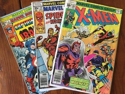 Lot (3) 70's X-men 104 Marvel Team Up 72 Double Feature 72 Bronze Age