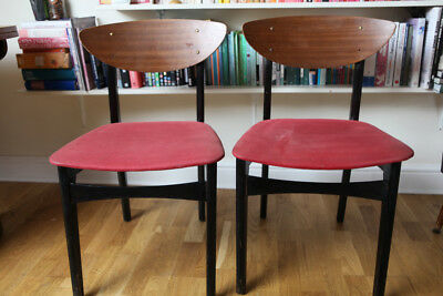 Pair of two vintage 1950s mid century G-plan teak red dining chairs