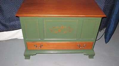 Rare Vintage  Lambert Hitchcock L Stenciled Wood Blanket Chest