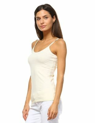 Anna Women's Camis Tank Top Stretch Camisole Layering Plain Tee Solid Off White