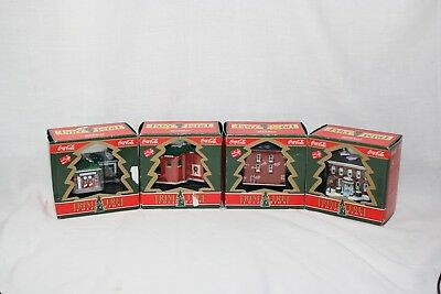 Set of 4 Coca Cola Coke Trim A Tree Collection Christmas Ornaments Mint in Box