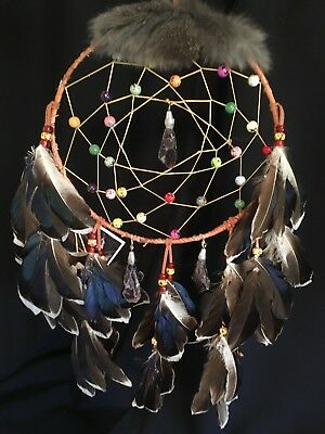 """Dream Catcher Native American w/ Birch 8"""" X 17"""" called Planets of the Universe"""