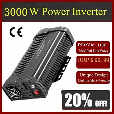 6000W Max 3000W Power Inverter Sine Wave DC 12V to AC 110V Power Display F#