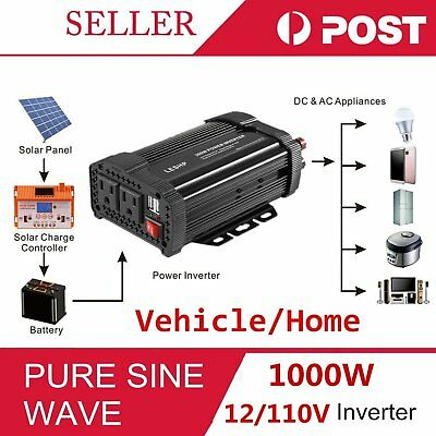 Solar Power Inverter 2000W Peak 12V DC To 110V AC Modified Wave Converter G#