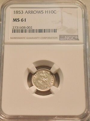 1853 H10C NGC MS 61 Seated Liberty Silver Half Dime With Arrows, Uncirculated 5C