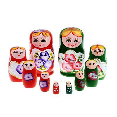 5pcs Purple Dolls Set Wooden Russian Nesting Babushka Matryoshka Hand Paint K1B