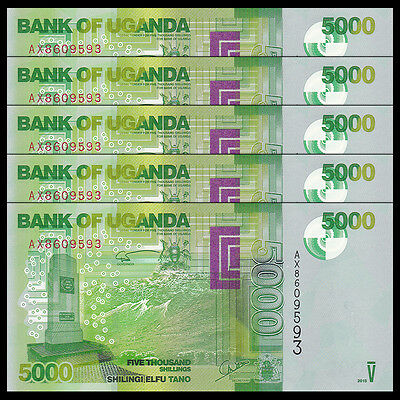 Lot 5 PCS, Uganda 5000 (5,000) Shillings, 2015, P-51 NEW, UNC