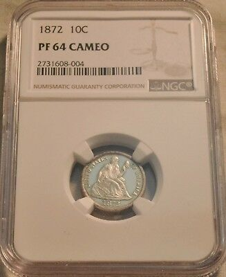 1872 10C NGC PF 64 CAMEO Seated Liberty PROOF Silver Dime Sharp Scarce Type Coin