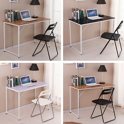 Modern Wooden Computer PC Desk  Study Table Workstation Metal Legs Home Office