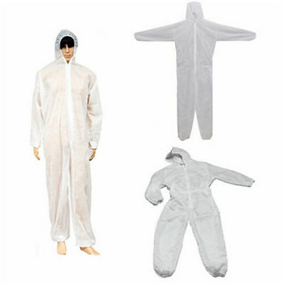 M~XXXL Disposable Coverall Overall Suit Hood Non-woven Dust-proof Clothing White