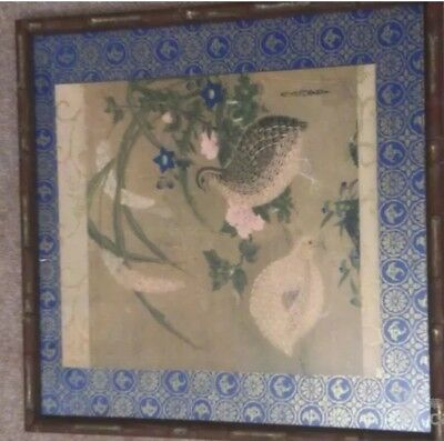antique Japanese bird paintings on silk
