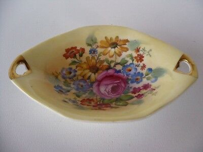 Vintage Paragon Trinket Dish Yellow With Pink & Blue  Floral & Gold