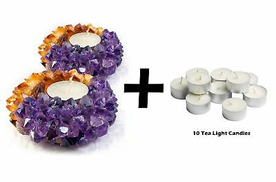 2x Tea Light Candle Holder Decor Crystal Amethyst Citrine Reiki TeaLight Wedding