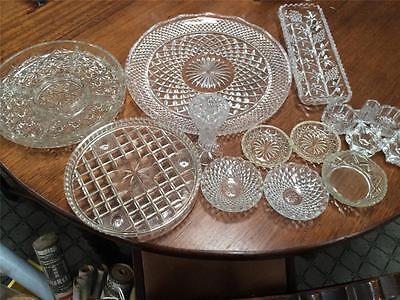 MIXED  LOT x VINTAGE PRESSED GLASS TEA WEDDING PARTY TRAY VASE CANDLEHOLDERS
