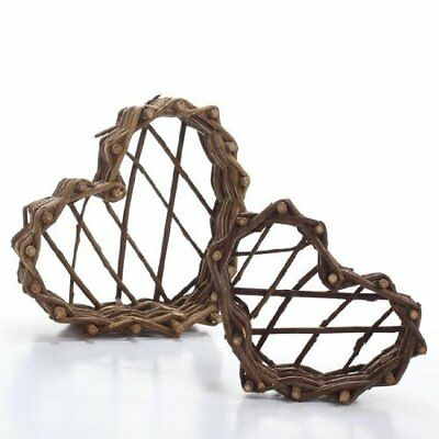 4 Sets of 2 Hand Crafted Assorted Heart Shaped Grapevine Twig Baskets for
