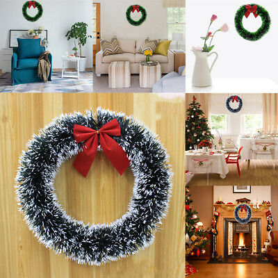 Christmas Party Wreath Door Wall Ornament Garland Red Bowknot Xmas Decor Gifts