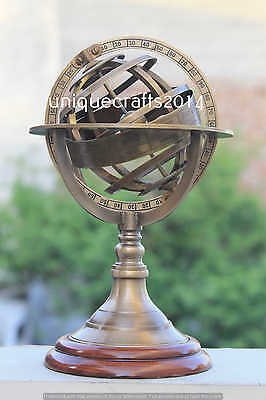 Antique Nautical Brass Armllary Sphere Globe W/Wooden Base Decorative Tabletop .