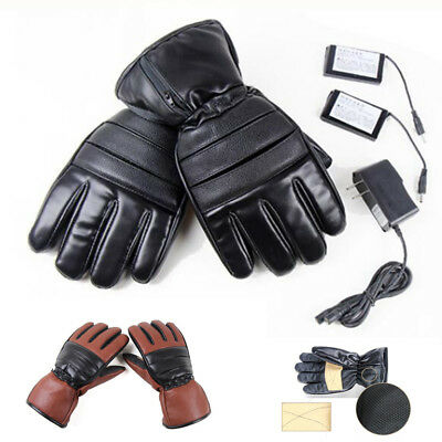 Leather Rechargeable Battery Electric Heated Hands Outdoor Winter Warmer Gloves