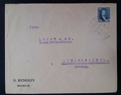 SCARCE 1933 Iraq Cover ties 15F blue King Faisal I stamp canc Baghdad to Germany