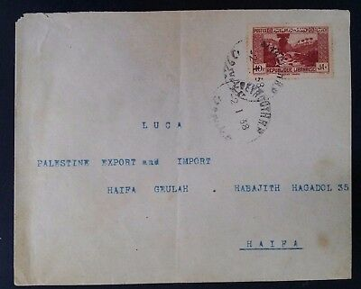 1938 Lebanon Cover ties 10P brownish red Dog River Landscape canc Beyrouth