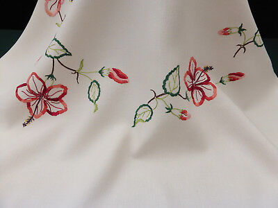 Vintage Irish Linen Semco Tablecloth-Hand Embroidered Striking Hibiscus Flowers