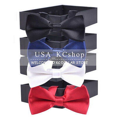New Children Boys Kids Solid Colour Bowtie Pre Tied Bow Tie Party Wedding Prom