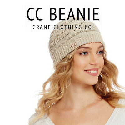 CC BEANIE Women Cable Knit Super Cute Beanie Thick Cap Hat Unisex Slouchy c.c.