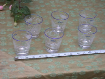 lot of 6 - PAA vintage Pan Am Airlines glasses - graphics design - Libbey?