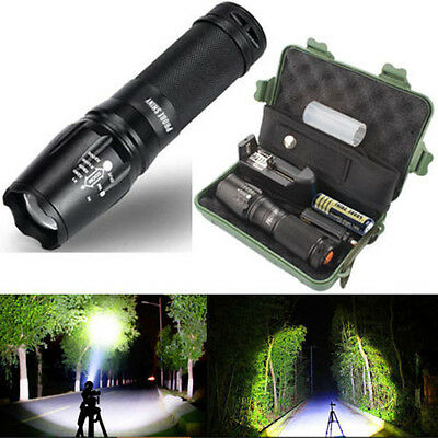 Durable 5000 Lumens Zoomable 5 Modes XML T6 LED Flashlight Torch Lamp+Case