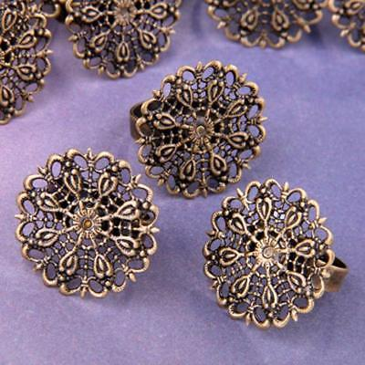 "10 Vintage Brass Filigree Adjustable Ring Blanks Pad Base 1"" CHIC"