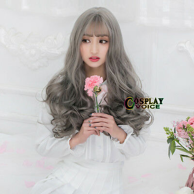 Harajuku Stylish Lolita 65cm Long Curly Gray Women Party Cosplay Wig+Wig Cap