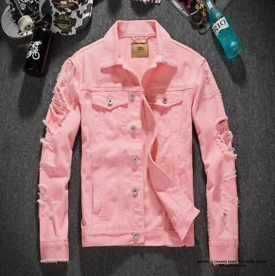 HOT Mens Girls Pink Ripped Hole Frayed Denim Jacket Coat Casual Jean Tops M618
