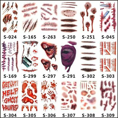Halloween Zombie Scars Tattoo With Fake Scab Blood Costume Party Makeup Stickers