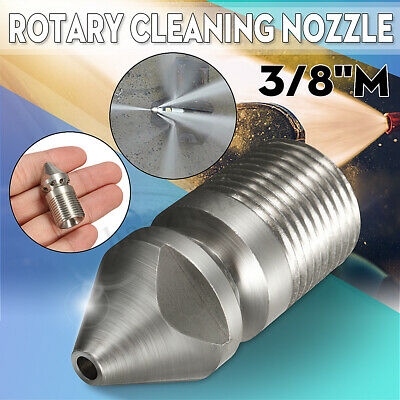 """Pressure Washer Jet Wash Drain Cleaning Nozzle 3/8""""M BSP 1 Forward 8 Rear 045"""
