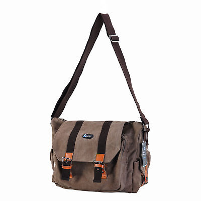 Canvas Khaki Shoulder DSLR Bag Rucksack for Canon Nikon Sony Pentax Fuji DSLR AU