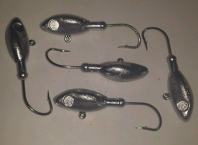 5 X 1.5oz  Style H Jig Heads with 4/0 Hooks For Soft Plastic Fishing Lures