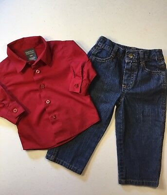 Preowned Boys Infant Lot Of 2 Perry Ellis And Disney Size 12 Mos.