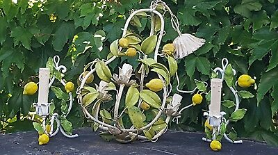 Italian Shabby Chic Lemons and Leaves Tole Chandelier + sconces
