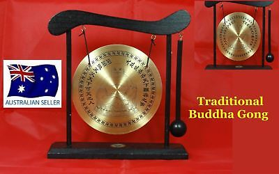 Chinese Dinner & Decorative Buddha Brass Gong & Wooden Stand & Hammer W28
