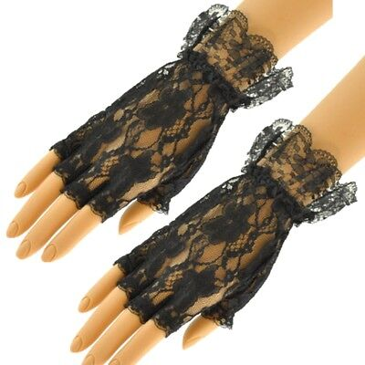 Ladies Black Lace Fingerless Gloves Halloween Fancy Dress Gothic Madonna