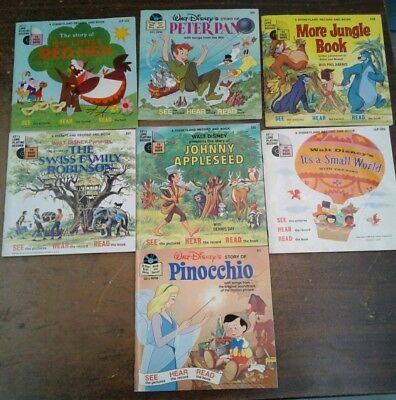 Lot of Vintage Walt Disney books with  33 1/3 records