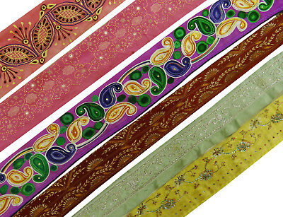 Antique Vintage Indian Craft Sari Multicolor Ribbon Sewing Lot Of 6 Pcs Lace