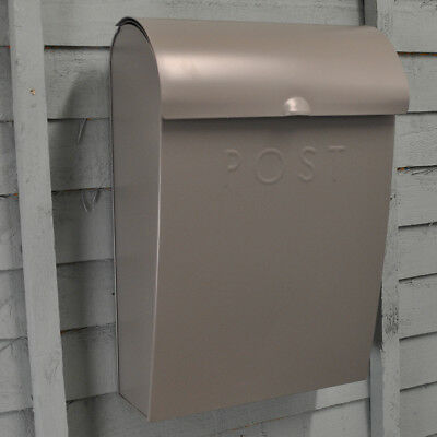 Large Charcoal Grey Post Box Letterbox with Lock by Garden Trading