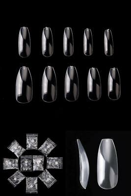 500 Pcs Coffin Clear Ballerina Tips Full Cover Acrylic False Nails DIY Nail Art