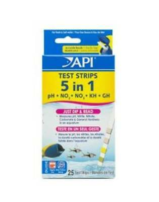 API 5 In 1 Aquarium 4 or 25 Test Strip Pack Fish Tank Marine Freshwater Nitrate