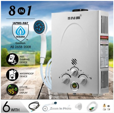 8 in 1 520L/Hr Portable Outdoor Gas Instant Shower Water Heater - Silver