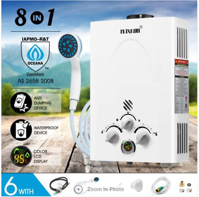8 in 1 520L/Hr Portable Outdoor Gas Instant 2800PA Shower Water Heater - White