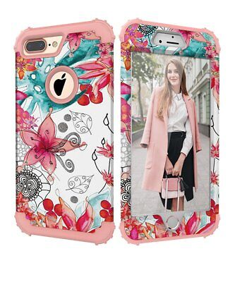 Heavy Duty Hybrid Full Body Protect Case Cover for apple for iphone 7 Plus Women