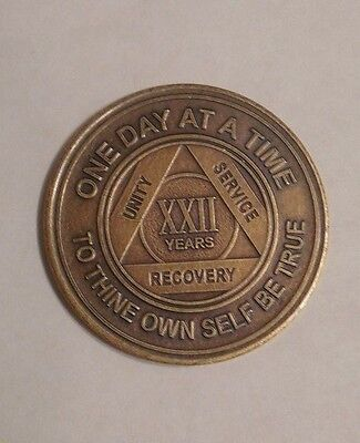 aa new alcoholic anonymous bronze 22 year recovery sobriety coin token medallion