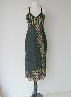 Vintage Black and Gold Leaved sequinned Spaghetti Strap homecoming dress M/ L